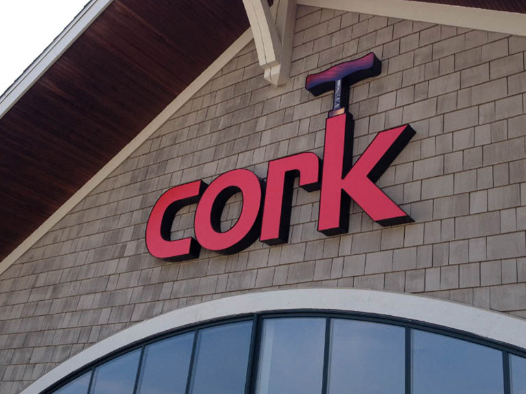 Cork store sign on building front