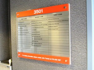 aluminum, interior, directional wall sign