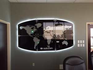 Halo lit world map on interior wall