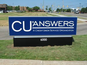 CU Answers low profile sign in yard