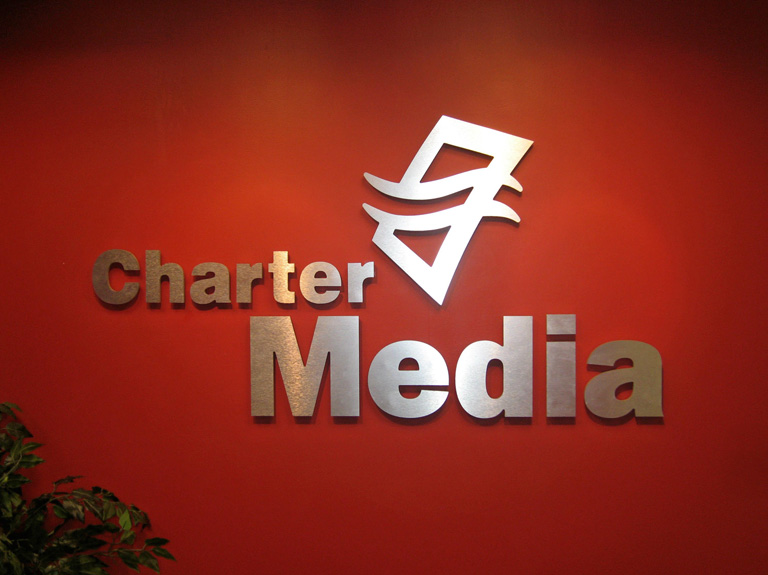Charter media letters on interior wall