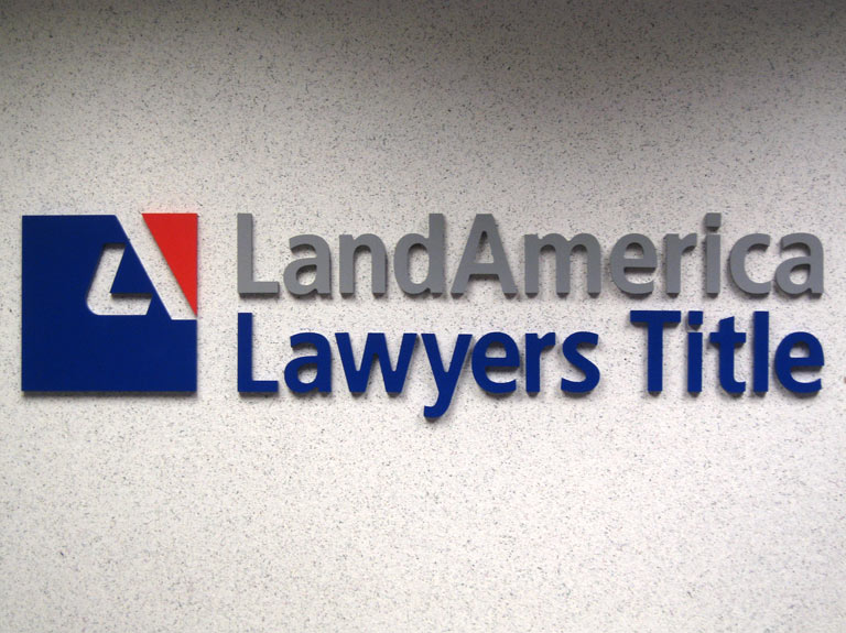 LandAmerica dimensional letters mounted on wall
