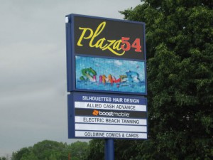 Plaza 54 pylon sign with digital display