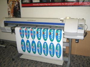 oval shaped stickers being printed