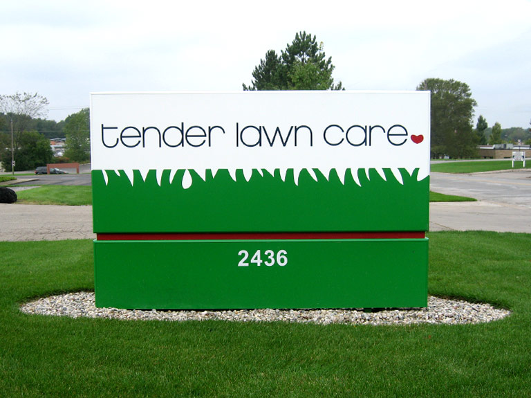 tender lawn care main i.d. sign in yard