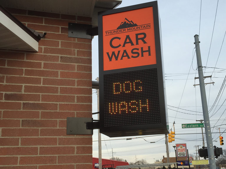 Car wash sign with digital display