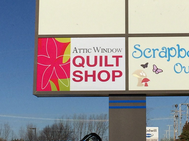 quilt shop pylon sign face