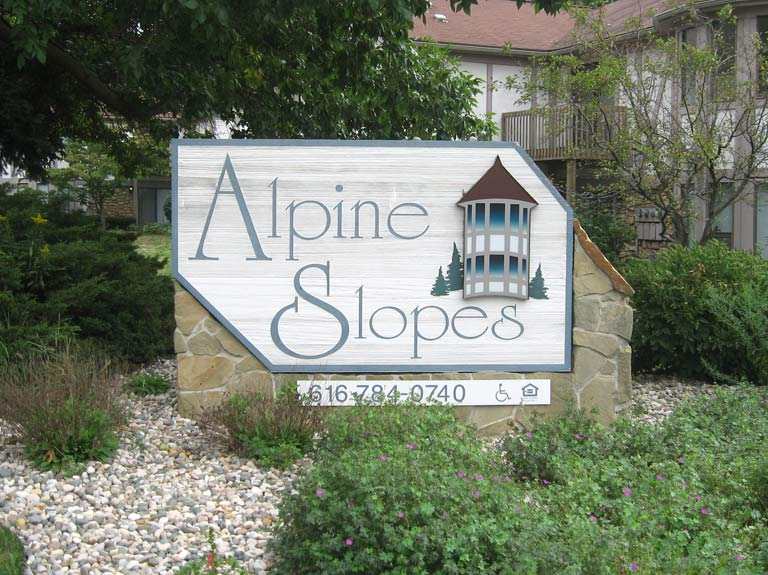 alpine slopes sign in yard