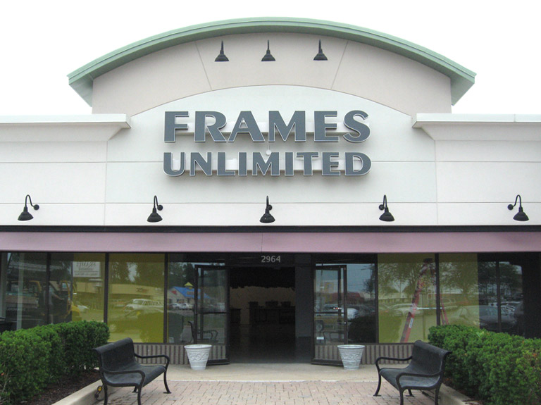 Frames Unlimited channel letters on wall