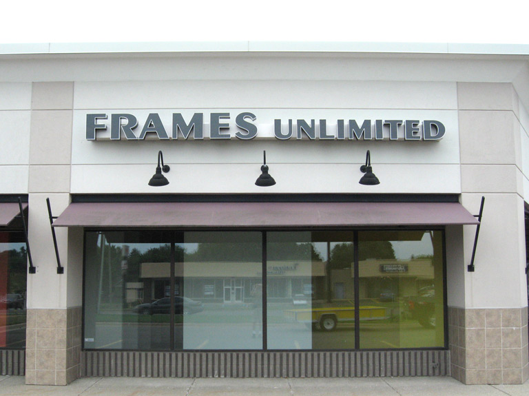 Frames Unlimited channel letters on store front