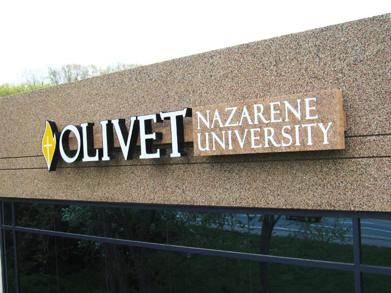 Olivet Nazarene University letters on wall