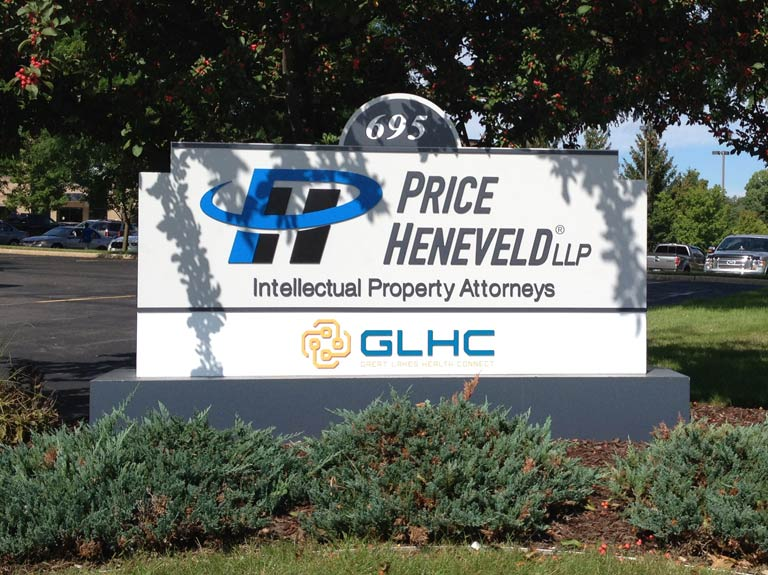 Price Heneveld monument sign in yard