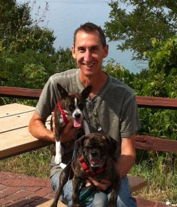Eric Sheler, Owner with dogs Levi (left) and Cooper (right)